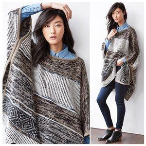 GAP Taupe Stripe Wool Thick Knit Poncho